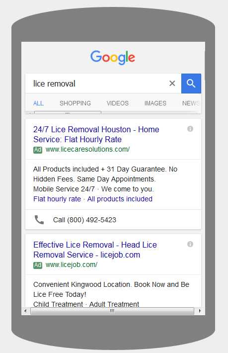 AdWords on mobile phones for Lice Care Solutions Texas, USA